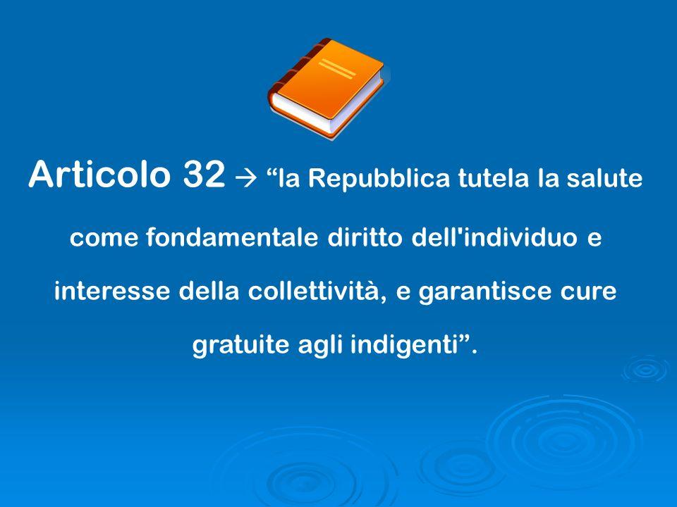 Articolo 32 la Repubblica tutela la salute come fondamentale diritto dell'individuo e interesse della collettività, e garantisce cure gratuite agli in