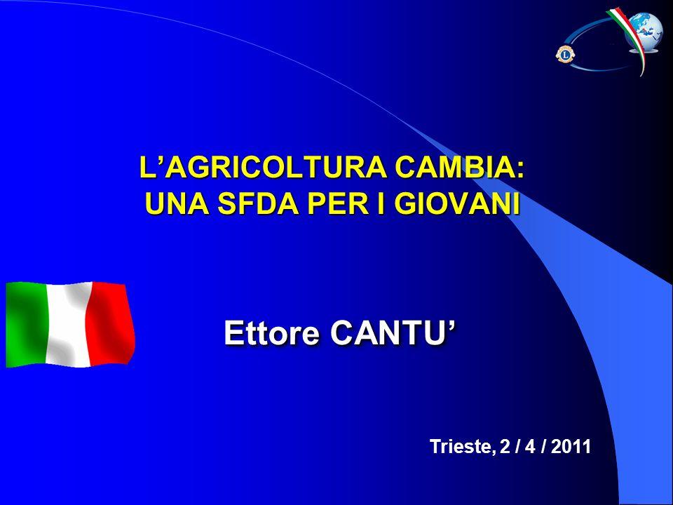 LAGRICOLTURA CAMBIA: UNA SFDA PER I GIOVANI Ettore CANTU Trieste, 2 / 4 / 2011