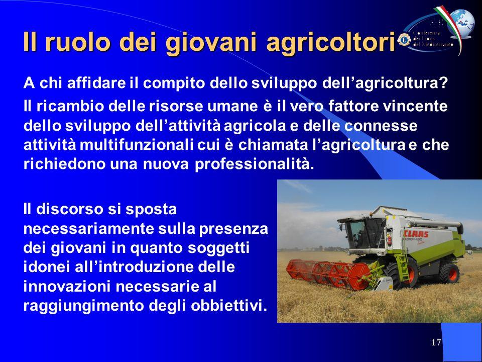 17 Il ruolo dei giovani agricoltori Il ruolo dei giovani agricoltori A chi affidare il compito dello sviluppo dellagricoltura.