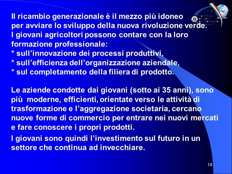 18 Il ricambio generazionale è il mezzo più idoneo per avviare lo sviluppo della nuova rivoluzione verde.
