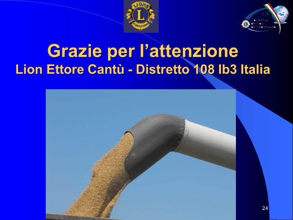 24 Grazie per lattenzione Lion Ettore Cantù - Distretto 108 Ib3 Italia
