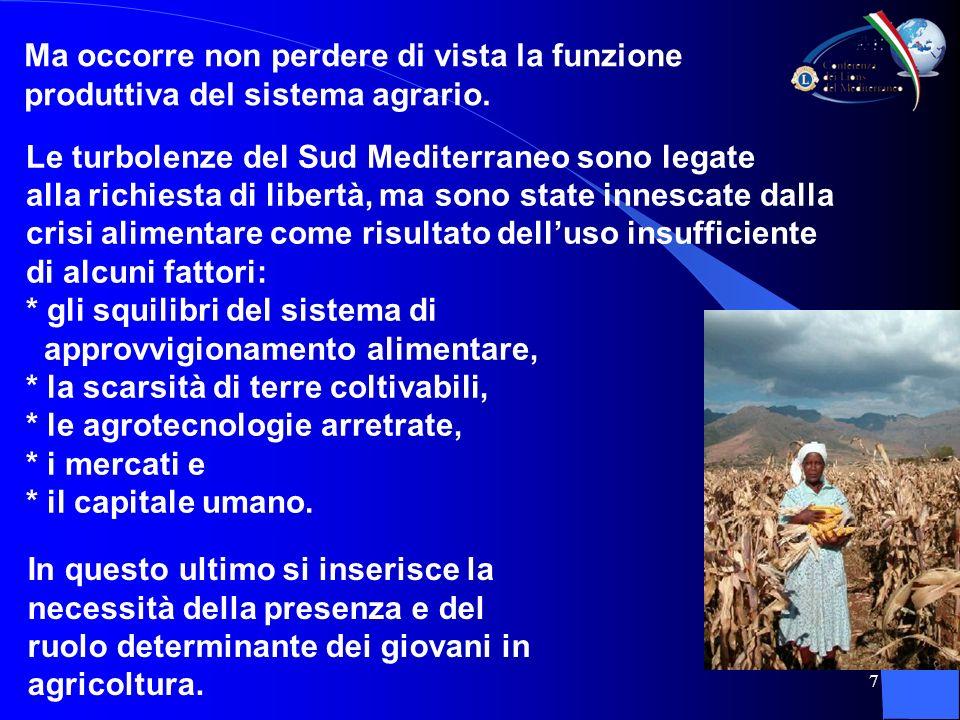 7 Le turbolenze del Sud Mediterraneo sono legate alla richiesta di libertà, ma sono state innescate dalla crisi alimentare come risultato delluso insufficiente di alcuni fattori: * gli squilibri del sistema di approvvigionamento alimentare, * la scarsità di terre coltivabili, * le agrotecnologie arretrate, * i mercati e * il capitale umano.
