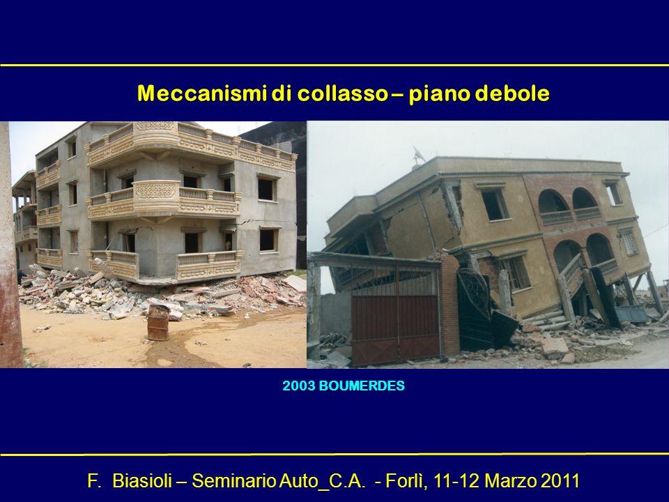 F. Biasioli – Seminario Auto_C.A. - Forlì, 11-12 Marzo 2011 Meccanismi di collasso – piano debole 2003 BOUMERDES