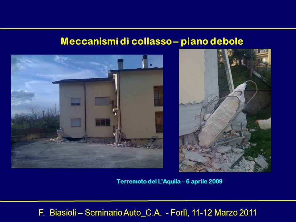 F. Biasioli – Seminario Auto_C.A. - Forlì, 11-12 Marzo 2011 Meccanismi di collasso – piano debole Terremoto del LAquila – 6 aprile 2009