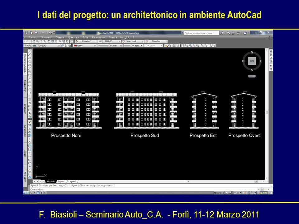 F. Biasioli – Seminario Auto_C.A. - Forlì, 11-12 Marzo 2011 I dati del progetto: un architettonico in ambiente AutoCad