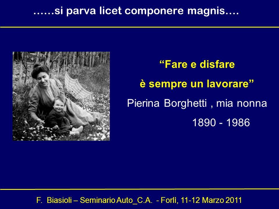 F. Biasioli – Seminario Auto_C.A. - Forlì, 11-12 Marzo 2011 Fare e disfare è sempre un lavorare Pierina Borghetti, mia nonna 1890 - 1986 ……si parva li