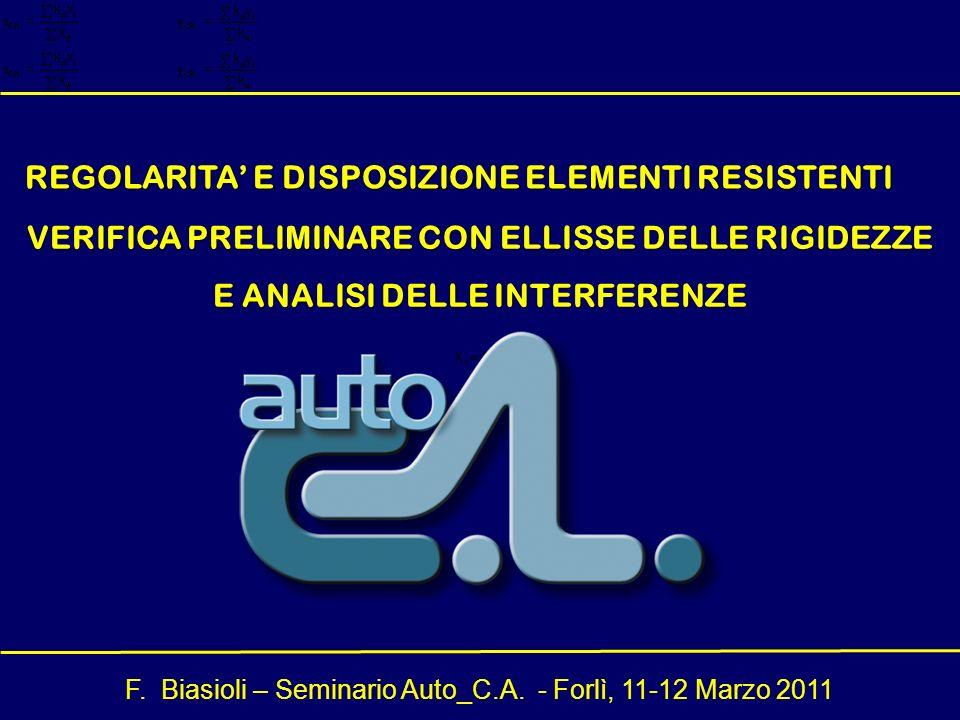 F. Biasioli – Seminario Auto_C.A. - Forlì, 11-12 Marzo 2011 VERIFICA PRELIMINARE CON ELLISSE DELLE RIGIDEZZE E ANALISI DELLE INTERFERENZE REGOLARITA E