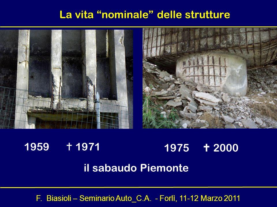 F. Biasioli – Seminario Auto_C.A. - Forlì, 11-12 Marzo 2011 1959 1971 1975 2000 il sabaudo Piemonte La vita nominale delle strutture
