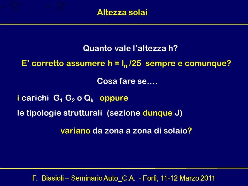 F. Biasioli – Seminario Auto_C.A. - Forlì, 11-12 Marzo 2011 Quanto vale laltezza h? E corretto assumere h = l n /25 sempre e comunque? Cosa fare se….