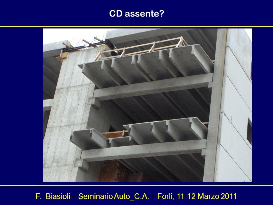 F. Biasioli – Seminario Auto_C.A. - Forlì, 11-12 Marzo 2011 CD assente?