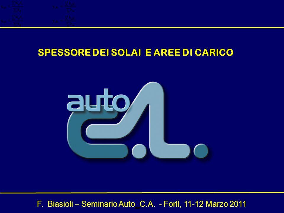 F. Biasioli – Seminario Auto_C.A. - Forlì, 11-12 Marzo 2011 SPESSORE DEI SOLAI E AREE DI CARICO