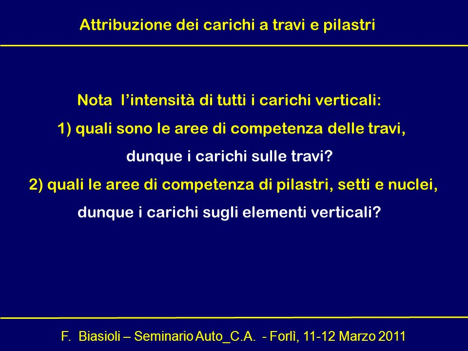 F. Biasioli – Seminario Auto_C.A. - Forlì, 11-12 Marzo 2011 Nota lintensità di tutti i carichi verticali: 1) quali sono le aree di competenza delle tr