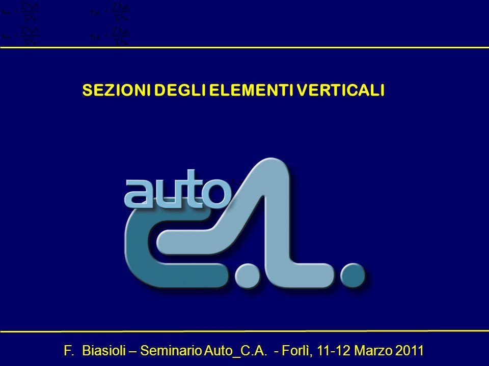 F. Biasioli – Seminario Auto_C.A. - Forlì, 11-12 Marzo 2011 SEZIONI DEGLI ELEMENTI VERTICALI
