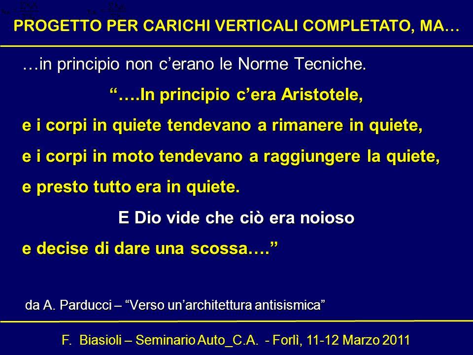 F. Biasioli – Seminario Auto_C.A. - Forlì, 11-12 Marzo 2011 PROGETTO PER CARICHI VERTICALI COMPLETATO, MA… …in principio non cerano le Norme Tecniche.