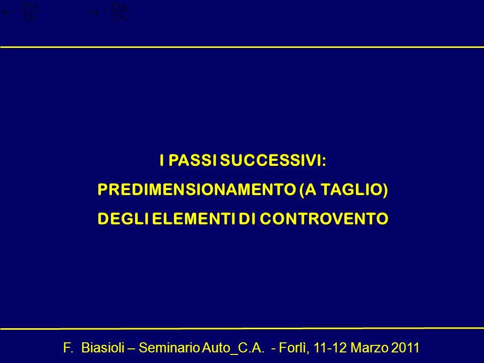 I PASSI SUCCESSIVI: PREDIMENSIONAMENTO (A TAGLIO) DEGLI ELEMENTI DI CONTROVENTO