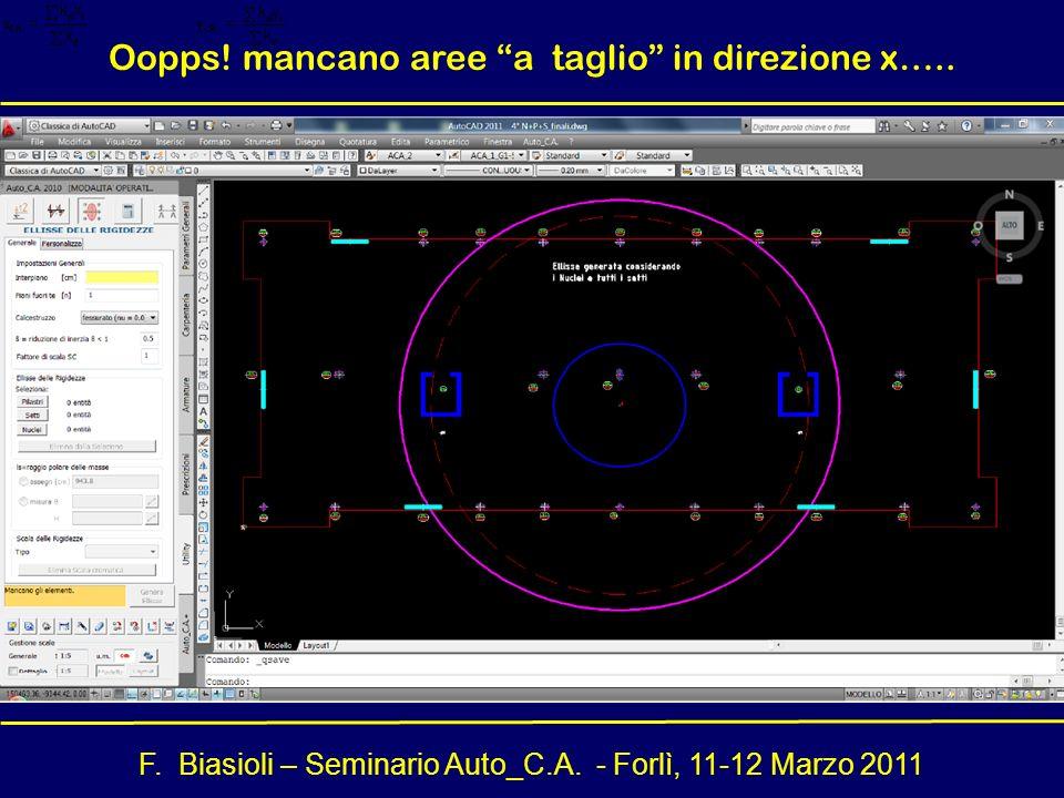 F. Biasioli – Seminario Auto_C.A. - Forlì, 11-12 Marzo 2011 Oopps! mancano aree a taglio in direzione x…..