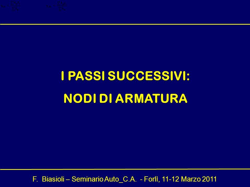 F. Biasioli – Seminario Auto_C.A. - Forlì, 11-12 Marzo 2011 I PASSI SUCCESSIVI: NODI DI ARMATURA