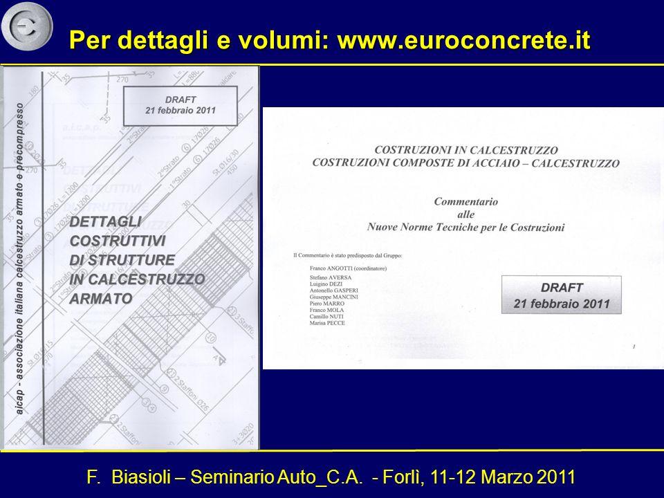 F. Biasioli – Seminario Auto_C.A. - Forlì, 11-12 Marzo 2011 Per dettagli e volumi: www.euroconcrete.it