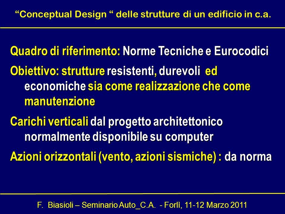 F. Biasioli – Seminario Auto_C.A. - Forlì, 11-12 Marzo 2011 Quadro di riferimento: Norme Tecniche e Eurocodici Obiettivo: strutture resistenti, durevo