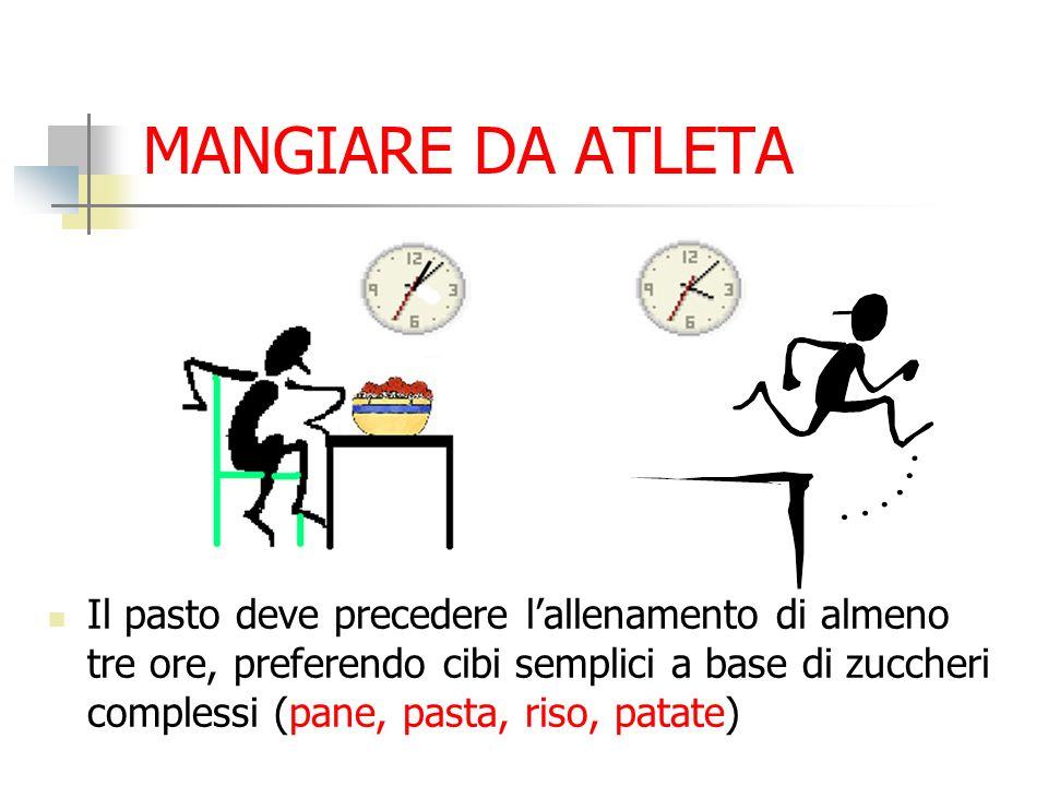 MANGIARE DA ATLETA Il pasto deve precedere lallenamento di almeno tre ore, preferendo cibi semplici a base di zuccheri complessi (pane, pasta, riso, p