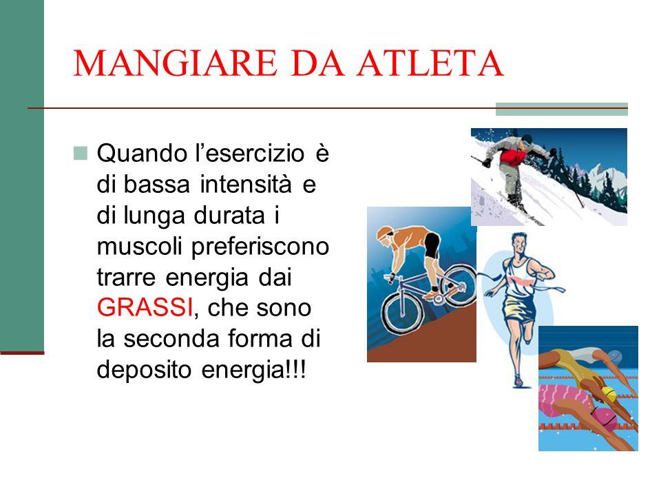 MANGIARE DA ATLETA Quando lesercizio è di bassa intensità e di lunga durata i muscoli preferiscono trarre energia dai GRASSI, che sono la seconda form