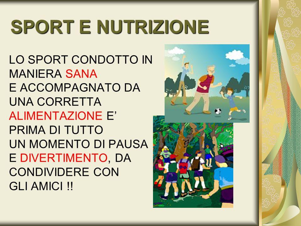 SPORT E NUTRIZIONE LO SPORT CONDOTTO IN MANIERA SANA E ACCOMPAGNATO DA UNA CORRETTA ALIMENTAZIONE E PRIMA DI TUTTO UN MOMENTO DI PAUSA E DIVERTIMENTO,