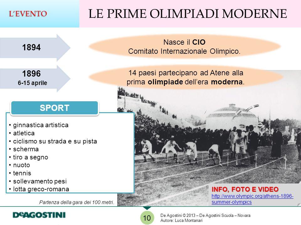 1896 6-15 aprile 1894 Nasce il CIO Comitato Internazionale Olimpico. 14 paesi partecipano ad Atene alla prima olimpiade dellera moderna. ginnastica ar
