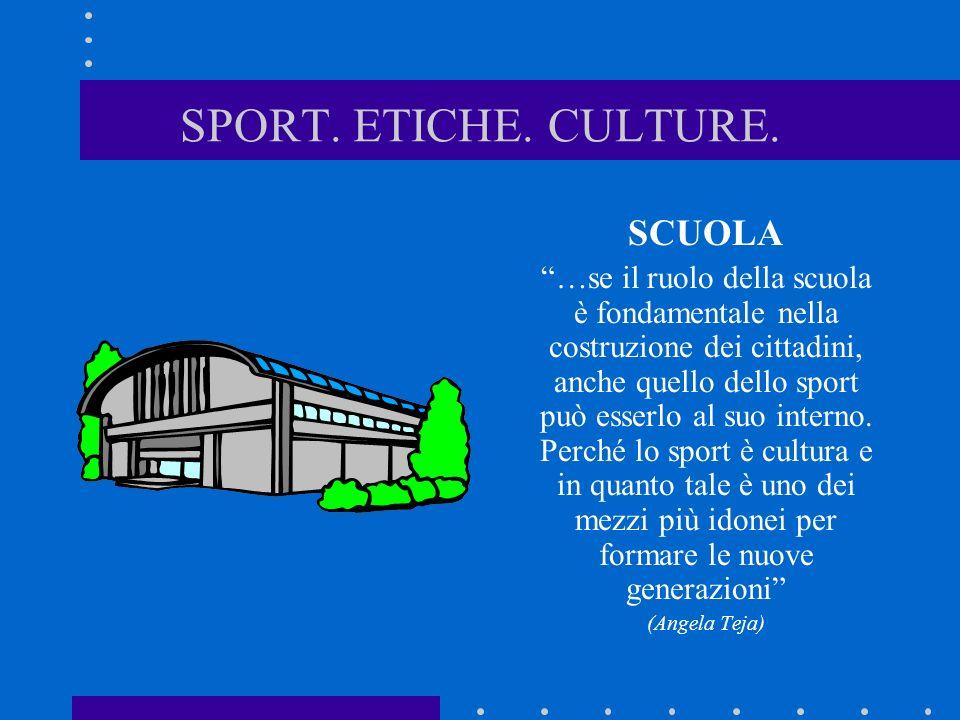 SPORT. ETICHE. CULTURE. SCUOLA …se il ruolo della scuola è fondamentale nella costruzione dei cittadini, anche quello dello sport può esserlo al suo i