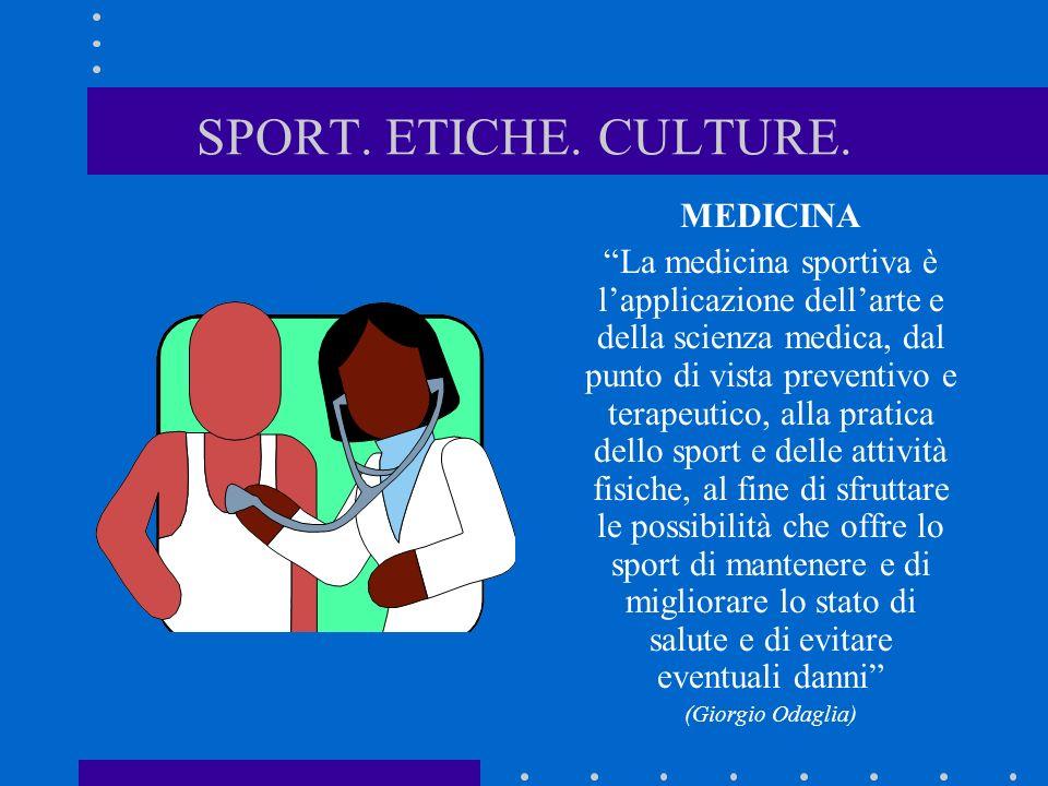 SPORT. ETICHE. CULTURE. MEDICINA La medicina sportiva è lapplicazione dellarte e della scienza medica, dal punto di vista preventivo e terapeutico, al