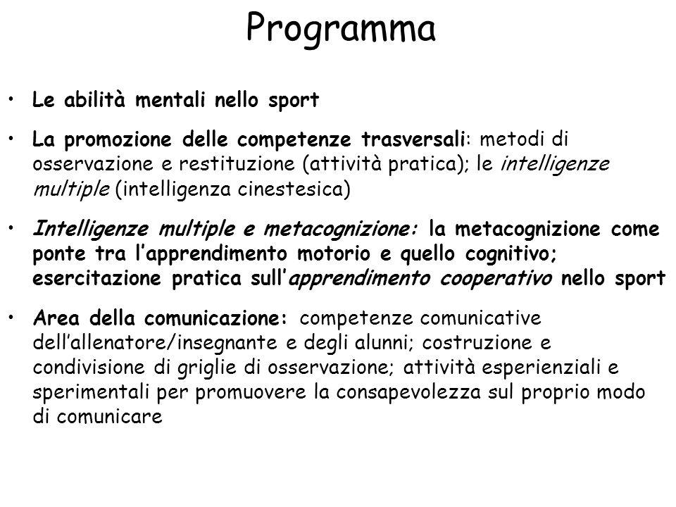 Programma (2) Area del diagnosticare e dellauto-valutazione: imparare a conoscere se stessi e leggere i contesti attraverso lo sport; riconoscere il proprio stile cognitivo; promuovere lauto-efficacia, lautodeterminazione e la percezione di controllo Le emozioni nello sport: dalla teoria dellintelligenza emotiva al modello IZOF; influenza dello stato di attivazione in compiti motori; Mental training e tecniche di rilassamento Area dellaffrontare: imparare la resilienza in palestra; il goal setting dallo sport alla scuola; La psicologia positiva per promuovere il benessere nella pratica sportiva La psicomotricità: lapproccio di Le Boulch; esempi pratici per insegnare la matematica, la scrittura, la lettura, ecc attraverso il movimento