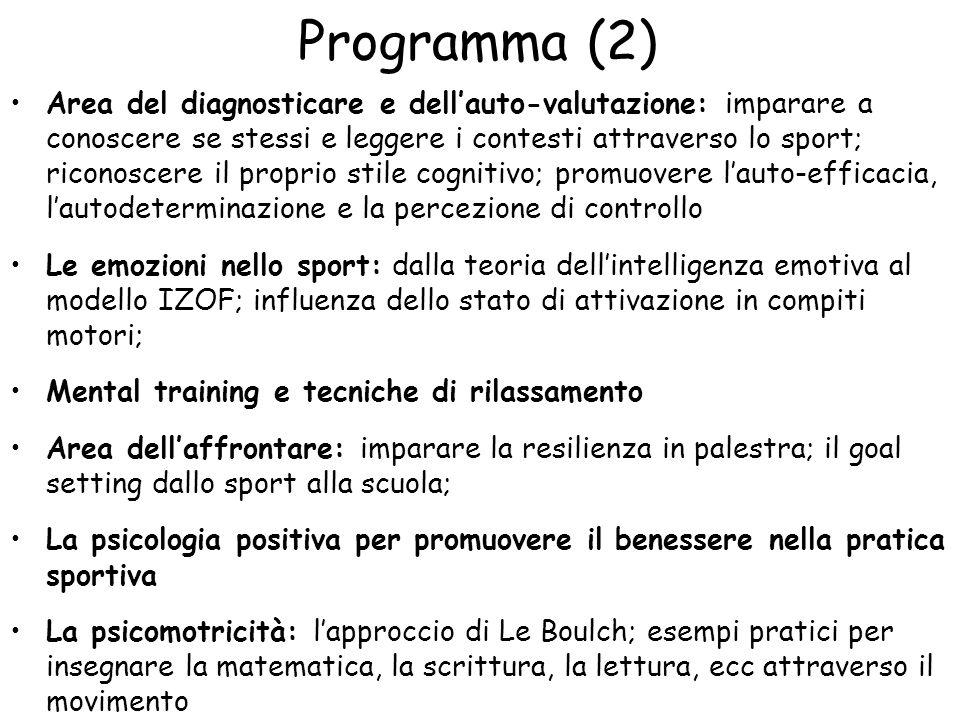 Programma (2) Area del diagnosticare e dellauto-valutazione: imparare a conoscere se stessi e leggere i contesti attraverso lo sport; riconoscere il p