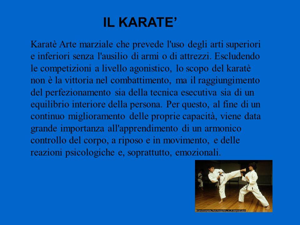 Karatè Arte marziale che prevede l'uso degli arti superiori e inferiori senza l'ausilio di armi o di attrezzi. Escludendo le competizioni a livello ag