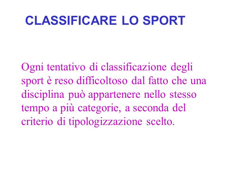 È soltanto per tradizione che si riconoscono sei categorie Gli sport atletici o ginnici, come latletica leggera, la ginnastica, la pesistica, il nuoto, il ciclismo, ecc.