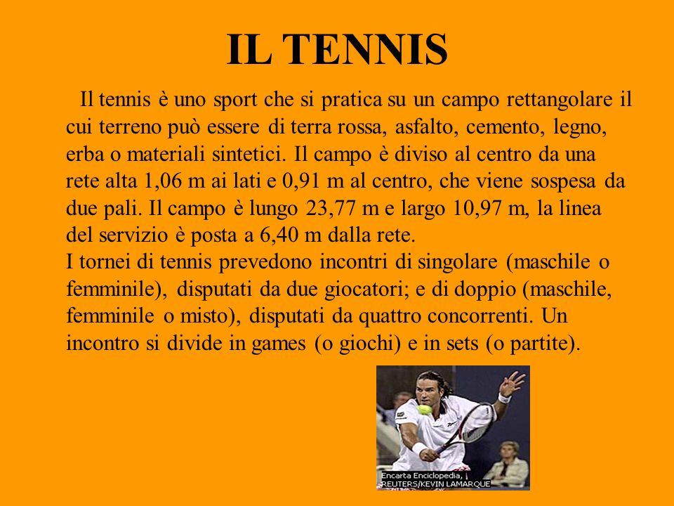 IL TENNIS Il tennis è uno sport che si pratica su un campo rettangolare il cui terreno può essere di terra rossa, asfalto, cemento, legno, erba o mate