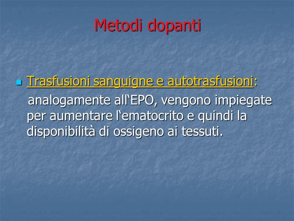 Metodi dopanti Trasfusioni sanguigne e autotrasfusioni: Trasfusioni sanguigne e autotrasfusioni: analogamente allEPO, vengono impiegate per aumentare
