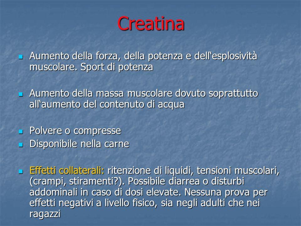 Creatina Aumento della forza, della potenza e dellesplosività muscolare. Sport di potenza Aumento della forza, della potenza e dellesplosività muscola