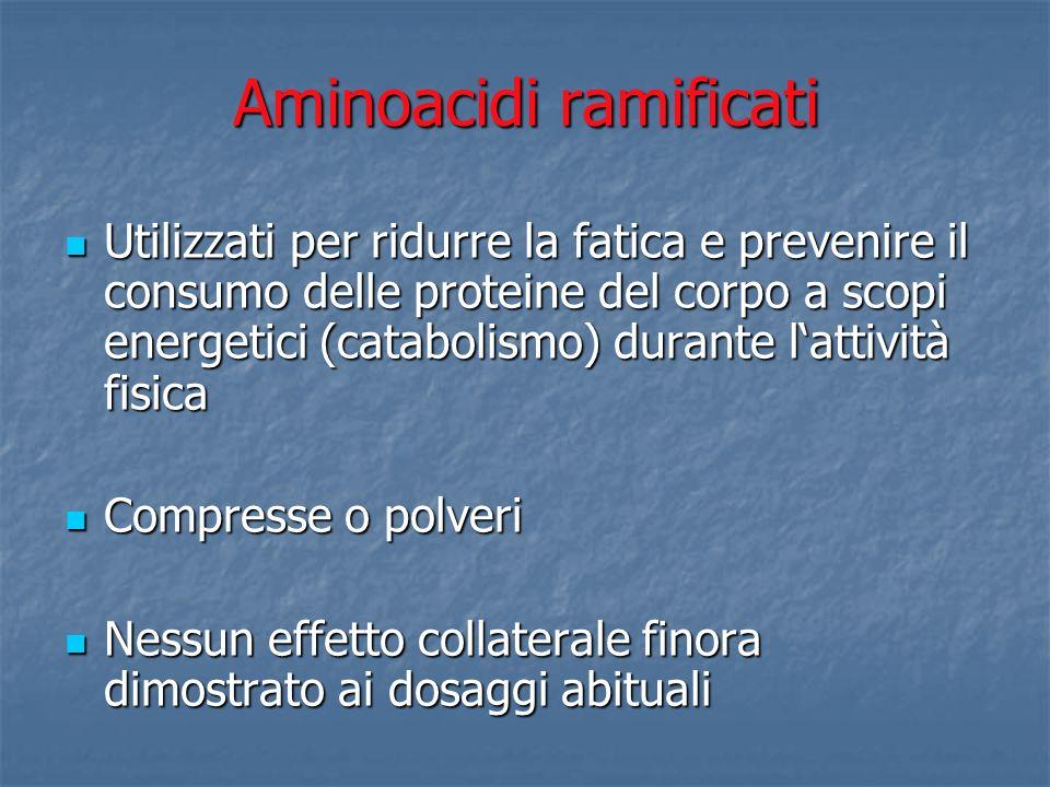 Aminoacidi ramificati Utilizzati per ridurre la fatica e prevenire il consumo delle proteine del corpo a scopi energetici (catabolismo) durante lattiv