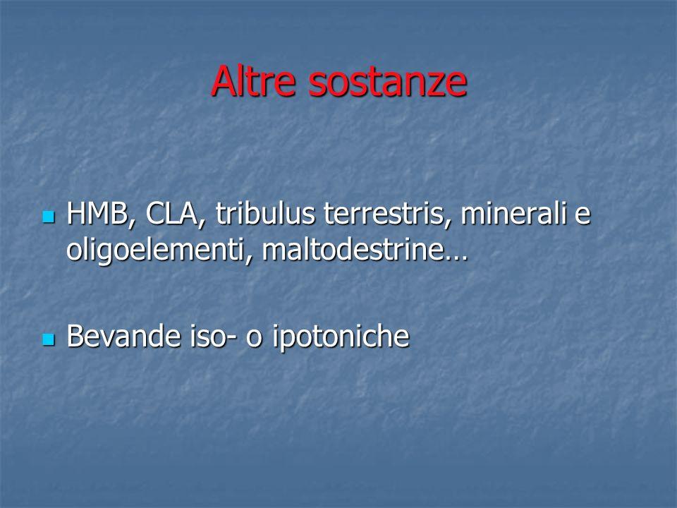 Altre sostanze HMB, CLA, tribulus terrestris, minerali e oligoelementi, maltodestrine… HMB, CLA, tribulus terrestris, minerali e oligoelementi, maltod