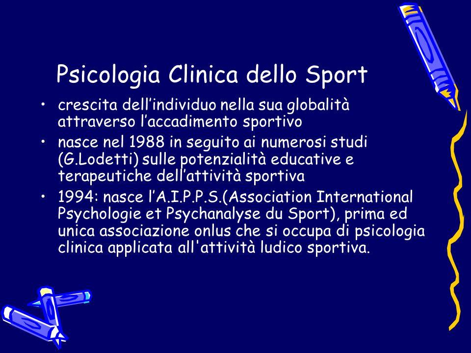 Psicologia Clinica dello Sport crescita dellindividuo nella sua globalità attraverso laccadimento sportivo nasce nel 1988 in seguito ai numerosi studi