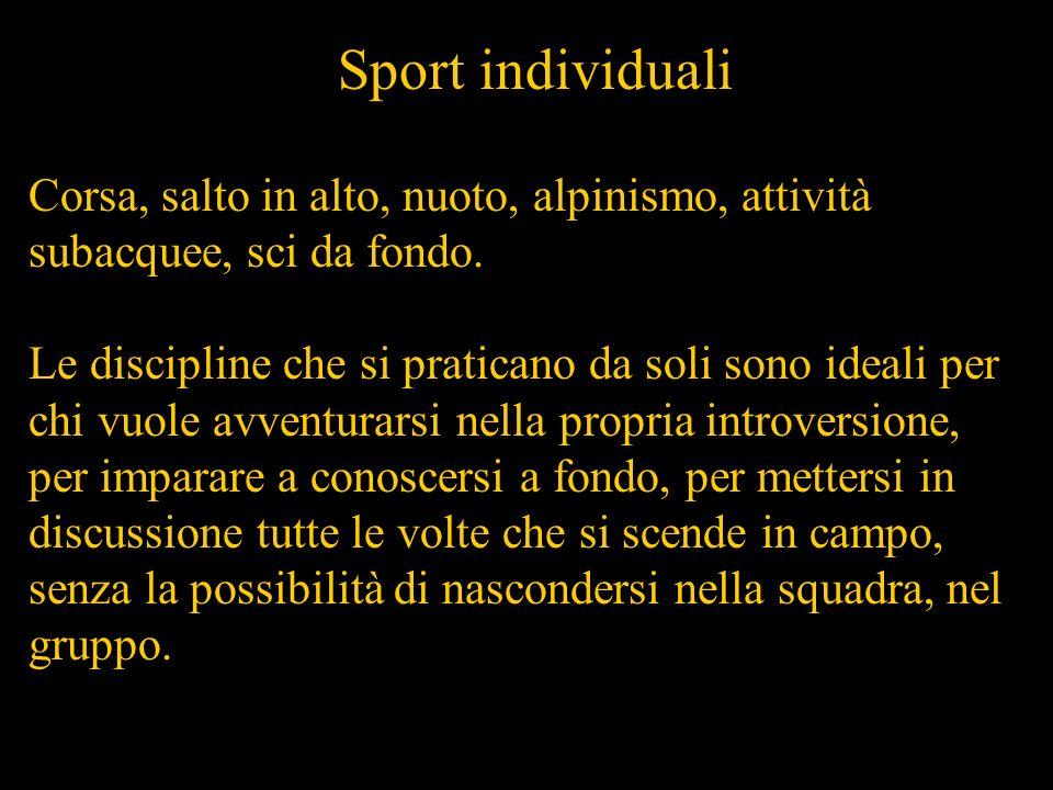 Sport individuali Corsa, salto in alto, nuoto, alpinismo, attività subacquee, sci da fondo.