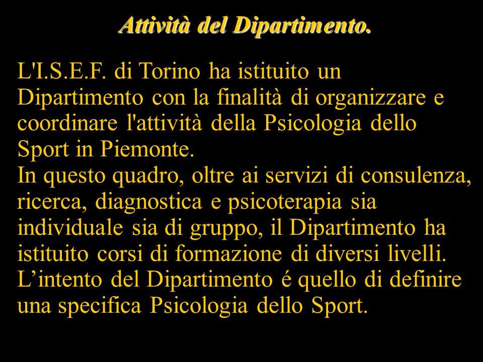 Ricerca Il Dipartimento attiva e opera inoltre con tutte le Istituzioni private e pubbliche che intendono avviare un lavoro di ricerca e di sperimentazione nell ambito della psicologia dello sport.
