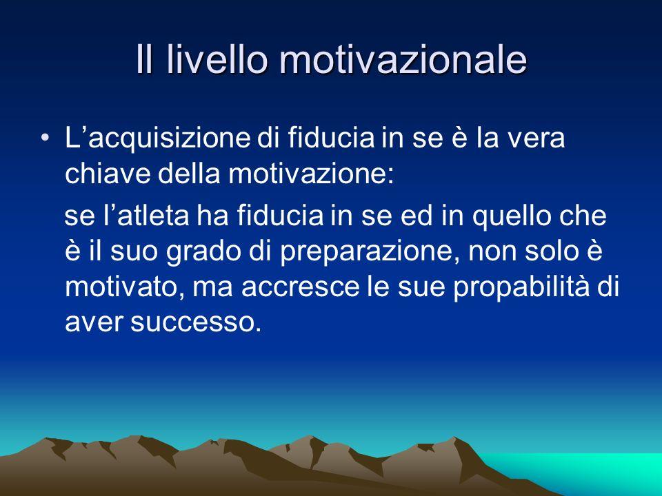 Il livello motivazionale Lacquisizione di fiducia in se è la vera chiave della motivazione: se latleta ha fiducia in se ed in quello che è il suo grad