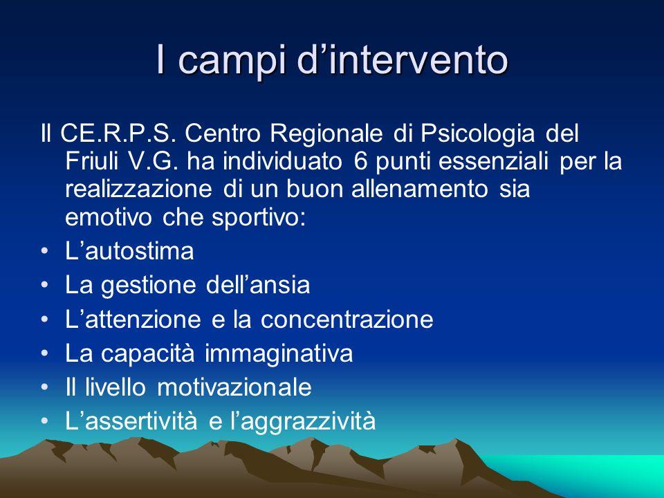 I campi dintervento Il CE.R.P.S. Centro Regionale di Psicologia del Friuli V.G. ha individuato 6 punti essenziali per la realizzazione di un buon alle
