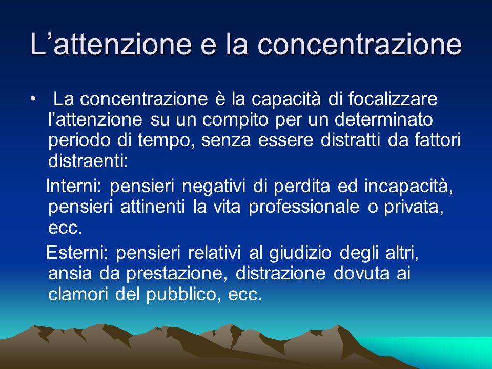 Lattenzione e la concentrazione La concentrazione è la capacità di focalizzare lattenzione su un compito per un determinato periodo di tempo, senza es