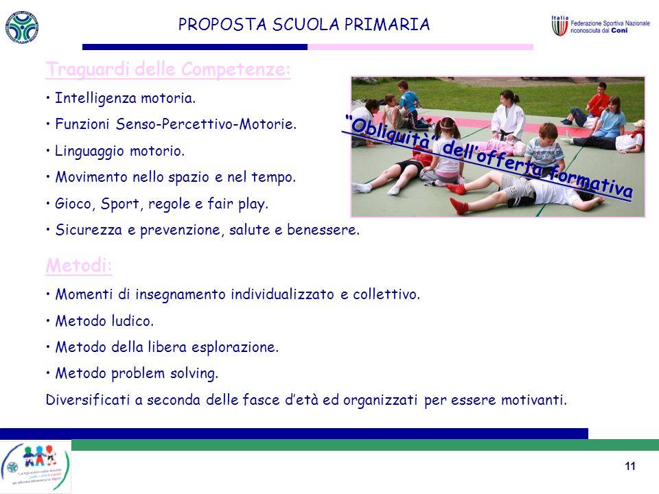 11 PROPOSTA SCUOLA PRIMARIA Traguardi delle Competenze: Intelligenza motoria.