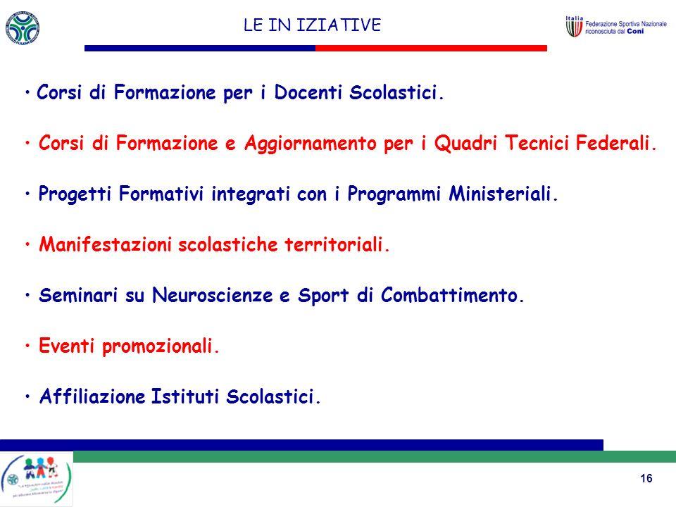 16 LE IN IZIATIVE Corsi di Formazione per i Docenti Scolastici.
