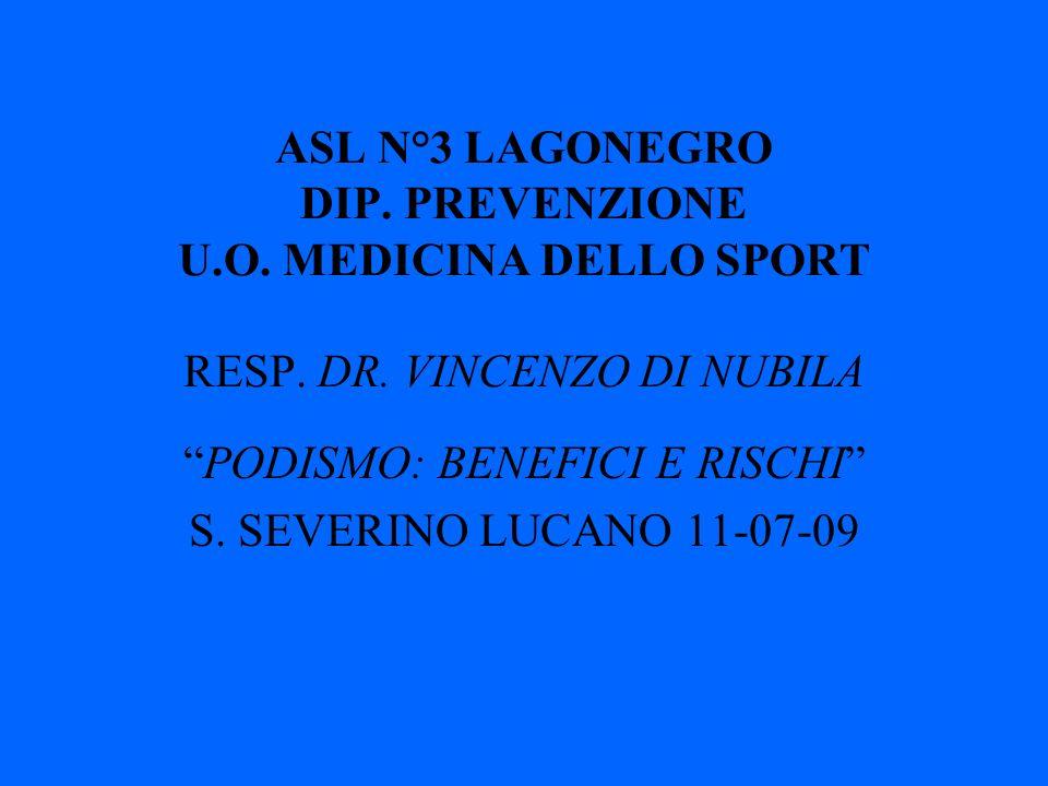 ASL N°3 LAGONEGRO DIP.PREVENZIONE U.O. MEDICINA DELLO SPORT RESP.