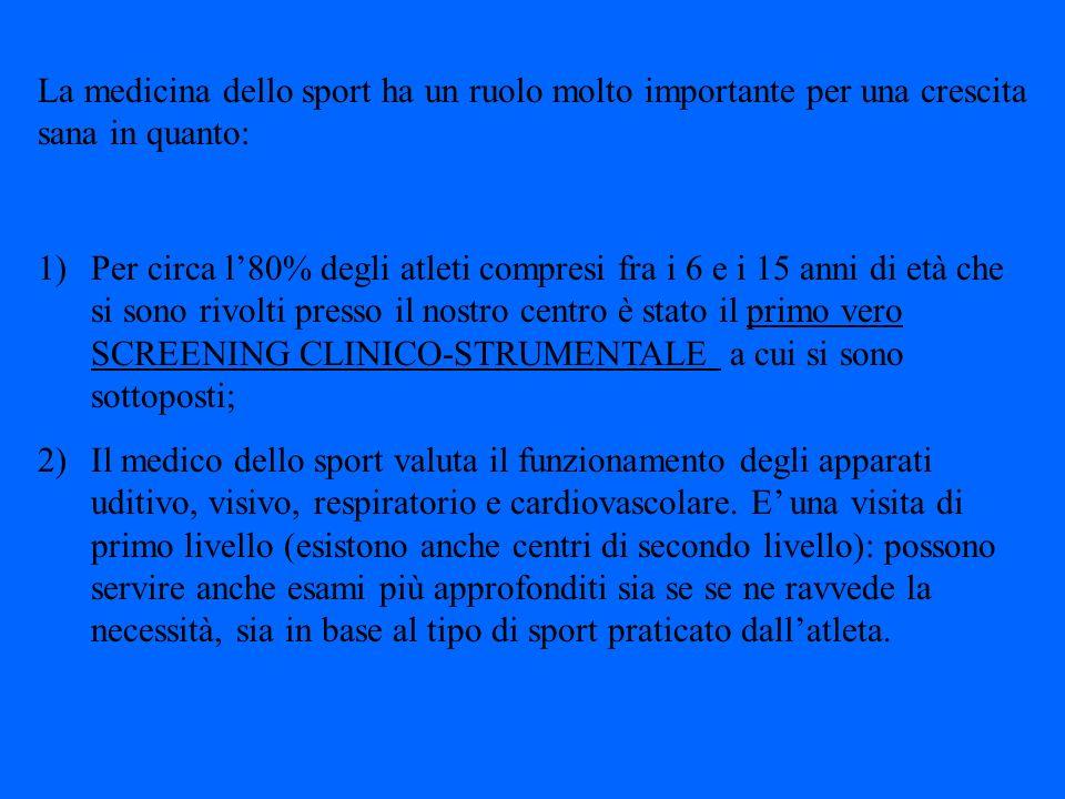 Lattività sportiva è divisa in: 1)Attività sportiva di tipo agonistico Gli esami consistono in: -visita medica (con particolare riguardo per lanamnesi, in particolar modo riguardo a patologie ereditarie quali diabete, ipertensione arteriosa e malattie cardiovascolari; -esame delle urine; -esame della vista; -esame spirometrico; -elettrocardiogramma a riposo; -elettrocardiogramma dopo sforzo (test dello scalino)