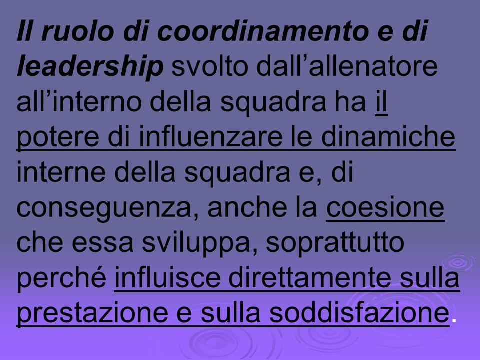 Il ruolo di coordinamento e di leadership svolto dallallenatore allinterno della squadra ha il potere di influenzare le dinamiche interne della squadr