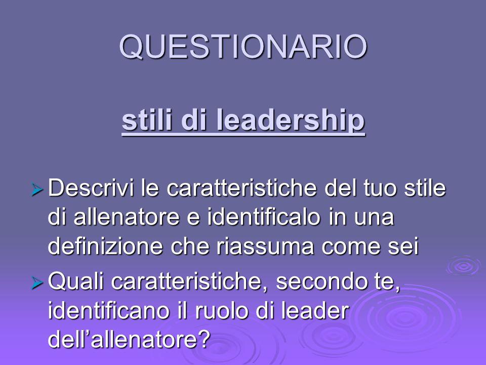 QUESTIONARIO stili di leadership Descrivi le caratteristiche del tuo stile di allenatore e identificalo in una definizione che riassuma come sei Descr